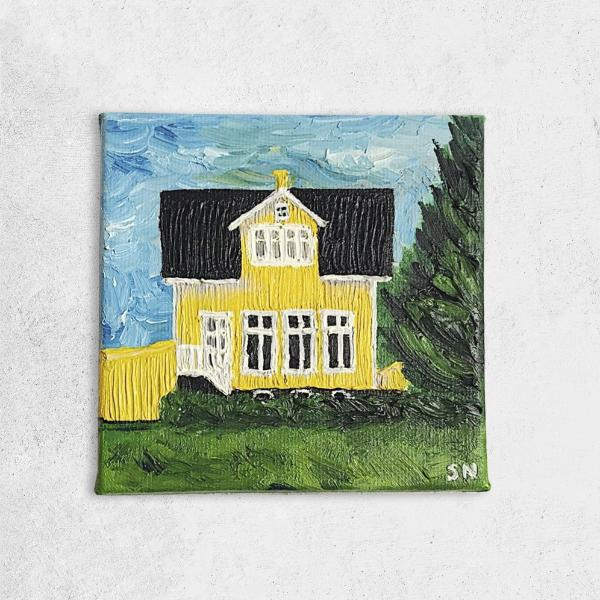 yellow house, canvas, acrylic, painting, sky, iceland, icelandic, painting, yellow, acrylic on canvas, acrylic painting, iceland house, icelandic house, icelandic home, scandi, home decor, Scandinavian, architectural painting,