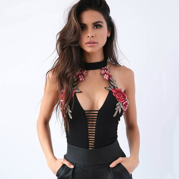 Bodyhugging  Backless Bodysuit With Floral Embroidery