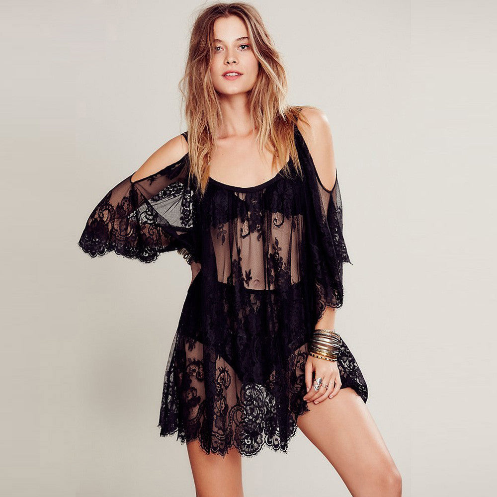 Sexy Floral Lace Beach Dress