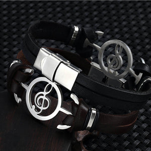 Musical Notes Stainless Steel Unisex Leather Bracelets