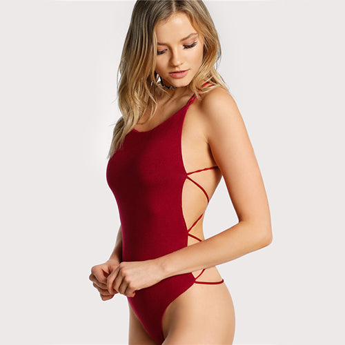 Red Strappy Sleeveless Summer Beach Hot Backless Bodysuit