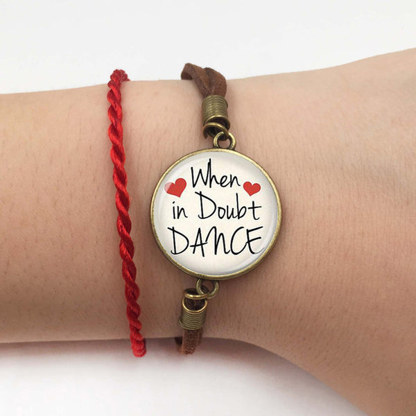 Dance Quote Bracelet - When in doubt dance heart pendant