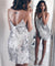 Silver Sequined Backless Club Dress