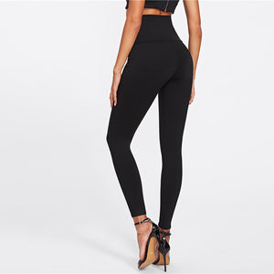 High Waist Skinny Lace Up Leggings