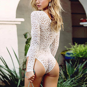 Deep V Neck Crochet Lace Bodysuits