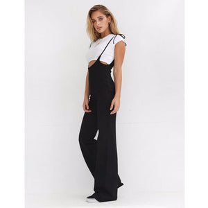 High Waisted Flare Overalls