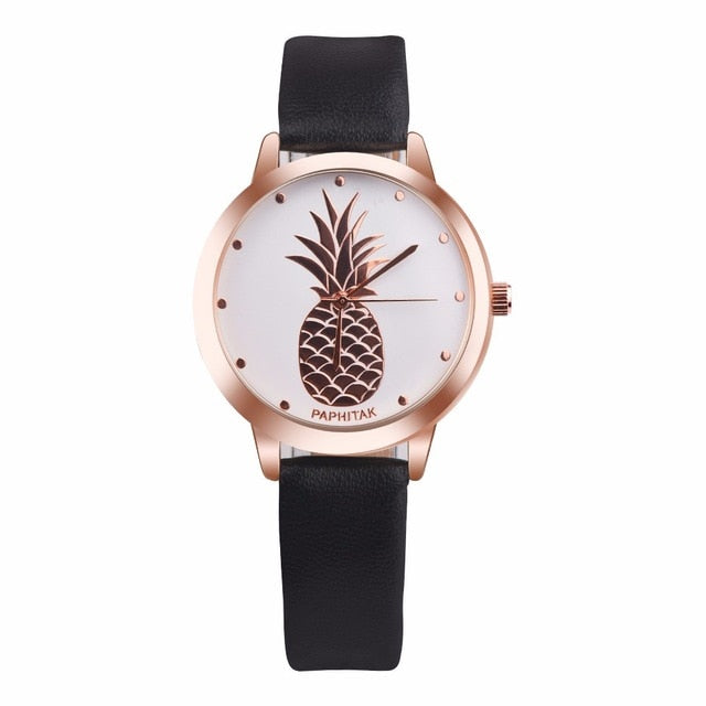 Pineapple Faux Leather Wrist Watch
