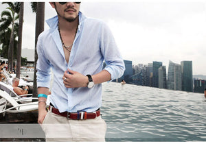 Sexy Linen Long Sleeve Men Shirt