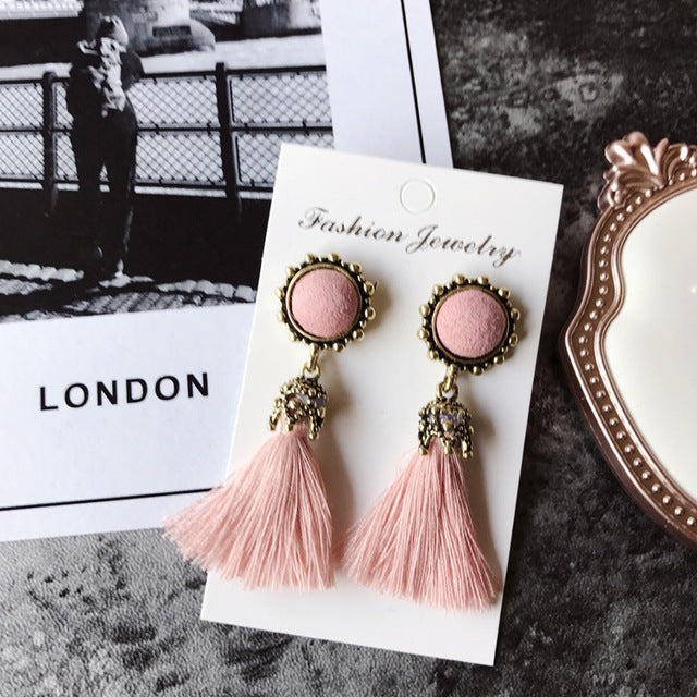 Vintage Tassel Earings With Velvet Ball