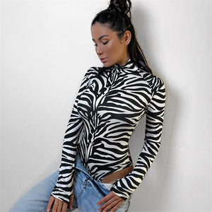 Zebra Print Turtleneck Bodysuit