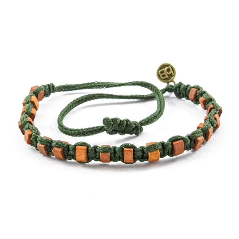 Brown Andes Military Green macrame artisan bracelets cover