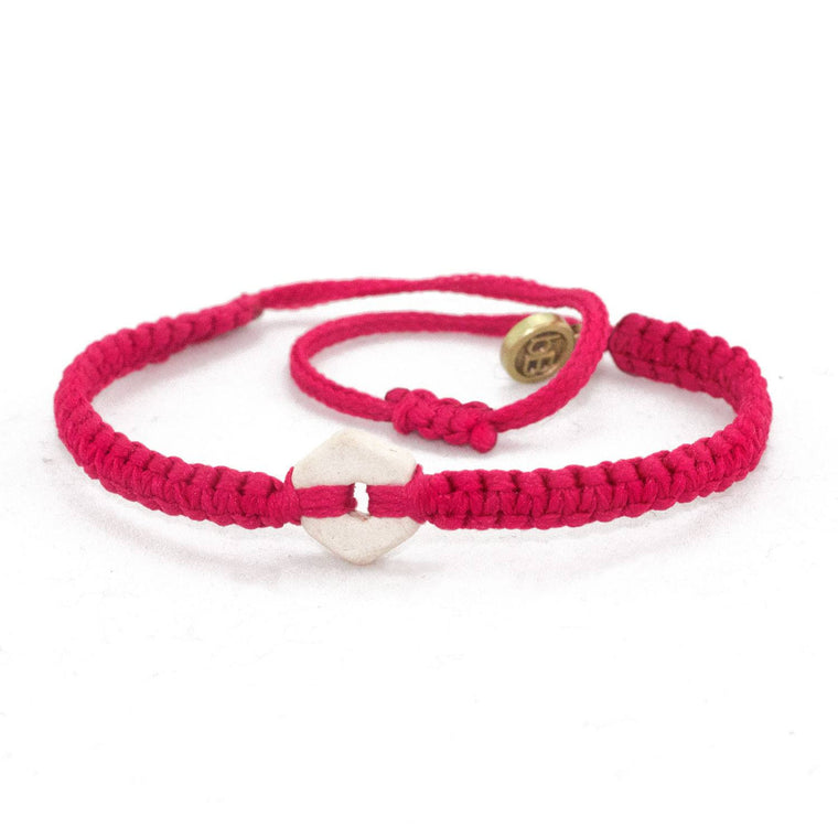 White Rustic Strawberry Pink handmade ethnic bracelets cover