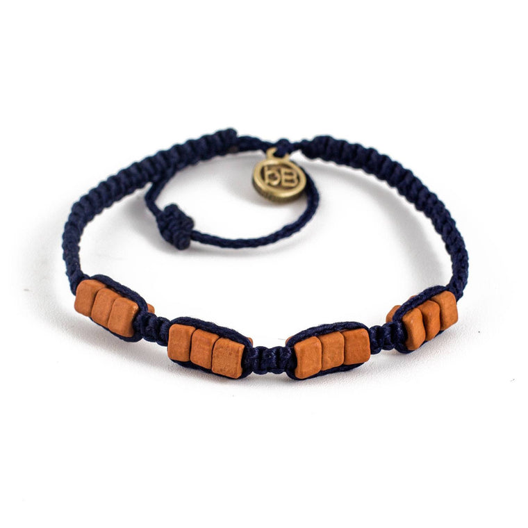 Brown Sisa Dark Blue tribal macrame bracelets cover