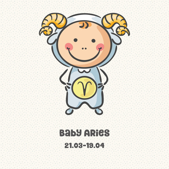 Baby Aries Zodiac Star Sign Greeting Card