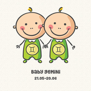Baby Gemini Zodiac Star Sign Greeting Card
