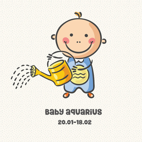 Baby Aquarius Zodiac Star Sign Greeting Card