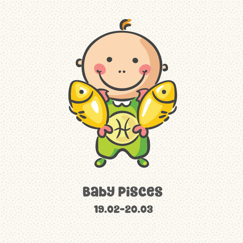 Baby Pisces Zodiac Star Sign Greeting Card