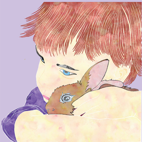 Family Designs Childhoold Memories Child with a Bunny Rabbit Blank Greeting Card