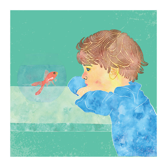 Childhood memories, blank greeting card, fish tank