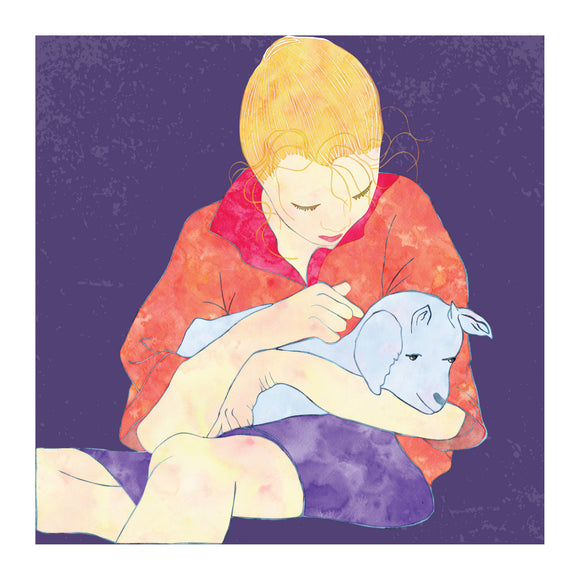 Childhood memories girl with a lamb