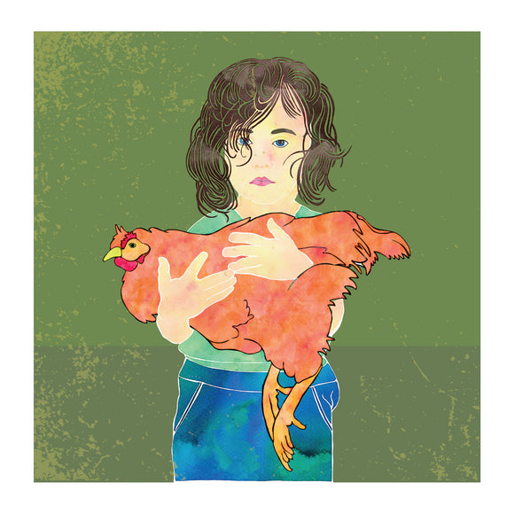 Childhood memories, hold a chicken, blank greeting card