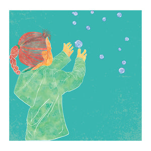 Childhood Memories, Catching Bubbles Blank Greeting Card