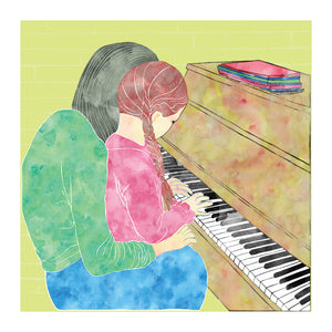 Childhood memories, Piano Lesson, Blank Greeting card