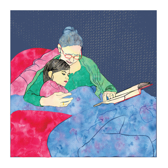 Childhood Memories, Bedtime Story, Blank Greeting Card
