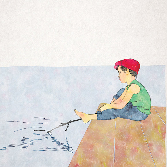 Childhood Memories Boy Fishing Greeting Card