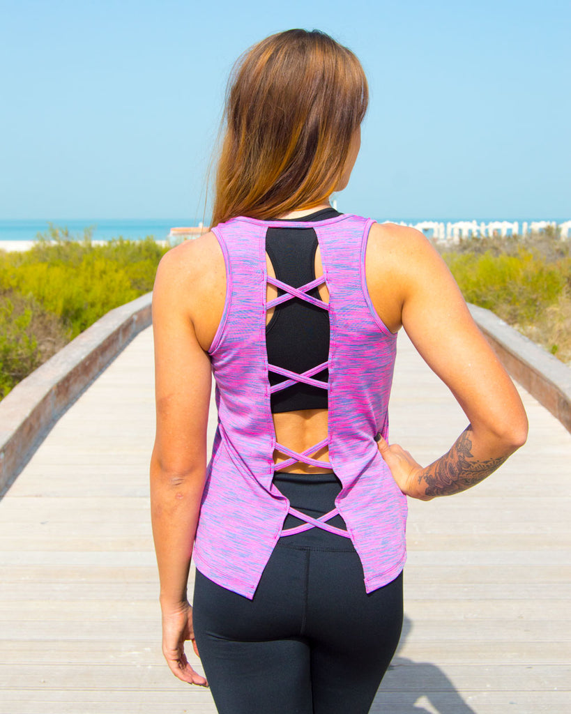 Cross Over Tank - Pink - KYMOO SPORT