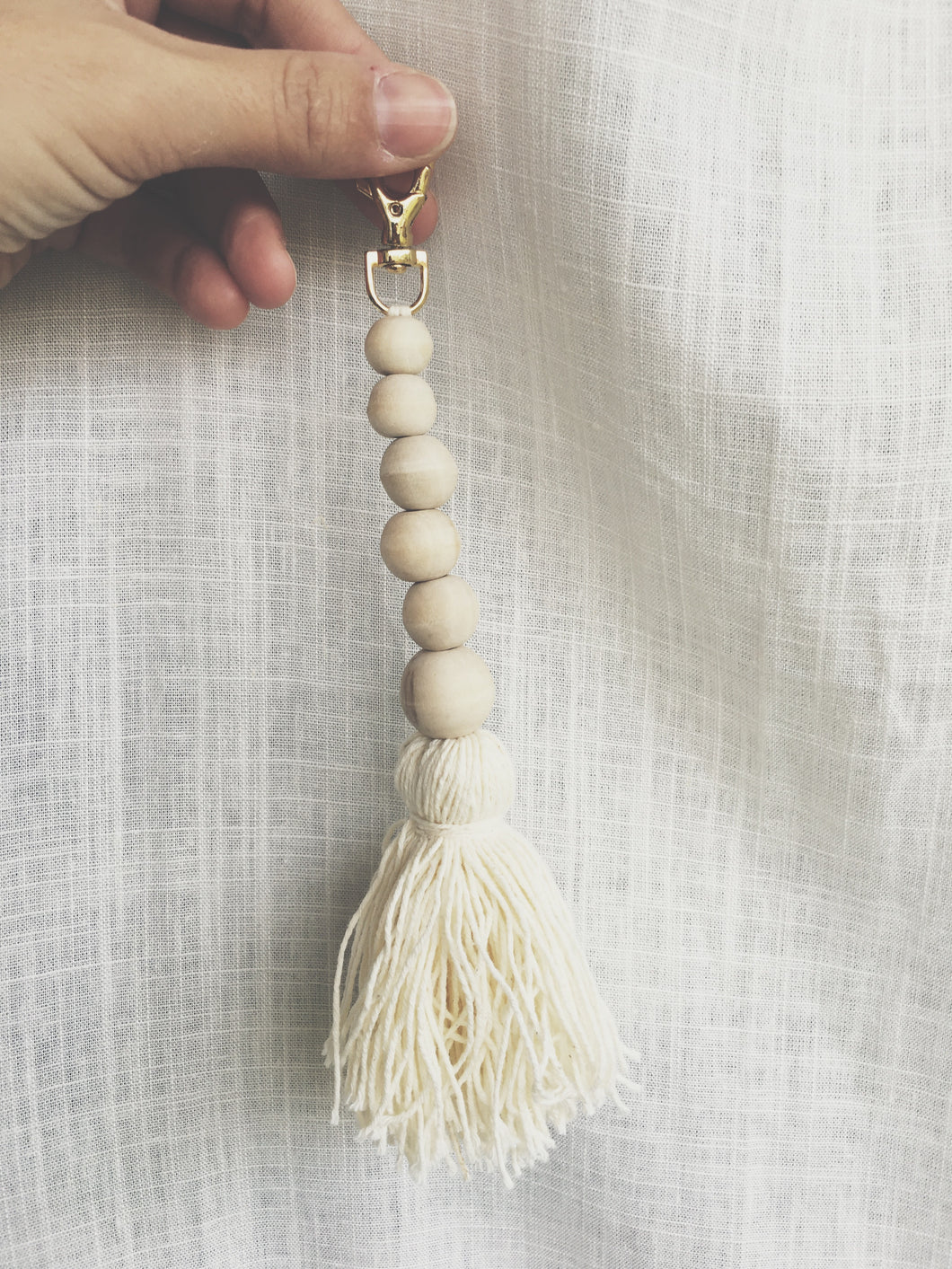 Natural Cotton Tassel with Beads