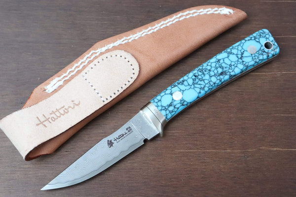 Hattori 傘 SAN Limited Edition SAN-29T Limited Cowry-X Damascus Little Hunter (Clip Point, Turquoise Gem-Stone Handle)