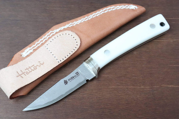 Hattori 傘 SAN Limited Edition SAN-29WC Limited Cowry-X Damascus Little Hunter (Clip Point, Fresh White Corian Handle)