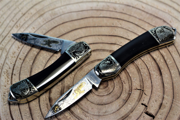 "Katsuhiko Miura KM-6 Mini Art Knife ""Birds or Animals"", Black Resin Handle"