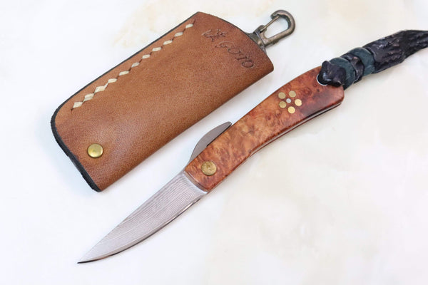 Kei Goto GH-200Q Small Higonokami Folders | Quince Burl Wood Handle - JapaneseKnifeDirect.Com