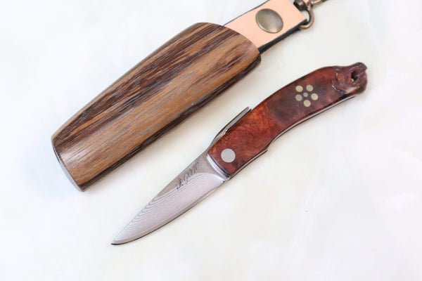 Kei Goto GH-40SQ New Higonokami, Salmon Head Carved Quincewood - JapaneseKnifeDirect.Com