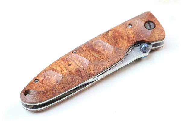 Mcusta Classic Wave Series MC-26D VG-10 Damascus blade with Quince Burl Wood handle - JapaneseKnifeDirect.Com