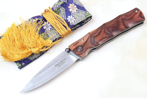 Mcusta Shinra Natural Series MC-74DR TAKE VG-10 Damascus (Indian Rose Wood Handle) - JapaneseKnifeDirect.Com
