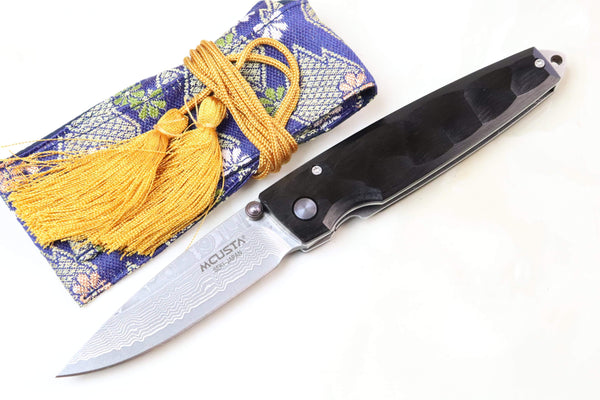 Mcusta Shinra Natural Series MC-79DP TSUCHI VG-10 Damascus (Black Pakka Wood Handle) - JapaneseKnifeDirect.Com