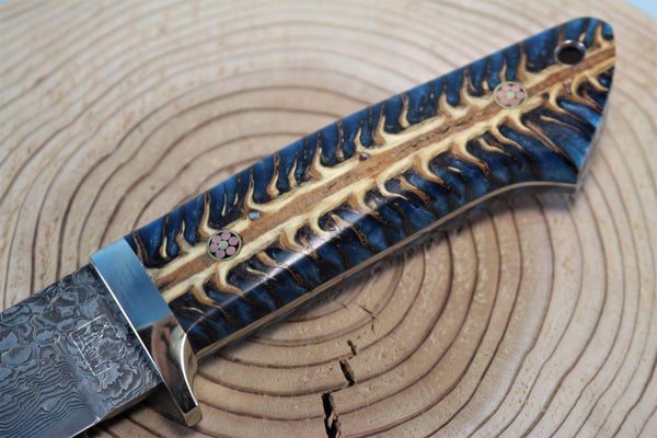 "Mr. Itou  IT-36 Drop Point Hunter ""Spruce Corn Hybrid Handle"""