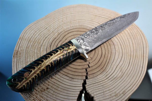 "Mr. Itou  IT-37 Drop Point Hunter ""Spruce Corn Hybrid Handle"""