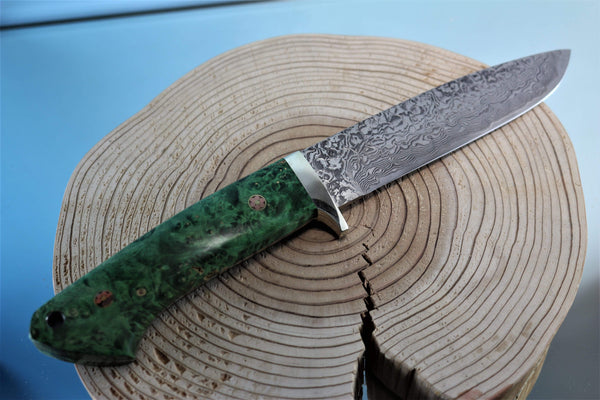 "Mr. Itou  IT-38 Drop Point Hunter, 5-1/2"" blade ""Green Maple Burl Wood Handle"""