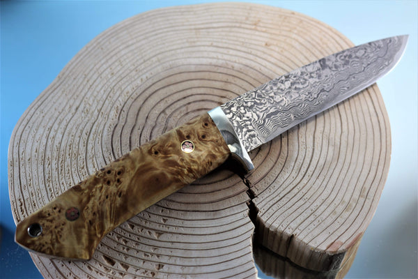 "Mr. Itou  IT-39 Drop Point Hunter, 5"" blade ""Natural Maple Burl Wood Handle"""