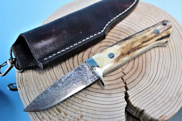 "Mr. Itou  IT-41 Drop Point Hunter, 3-1/4"" blade ""Sambar Stag Handle"""
