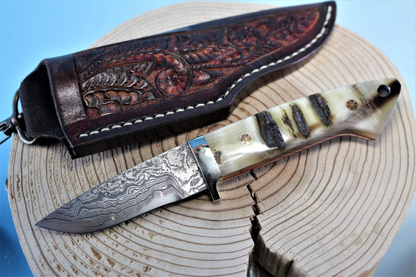 "Mr. Itou  IT-43 Drop Point Hunter, 3-1/4"" blade ""Sheep Horn Handle"""