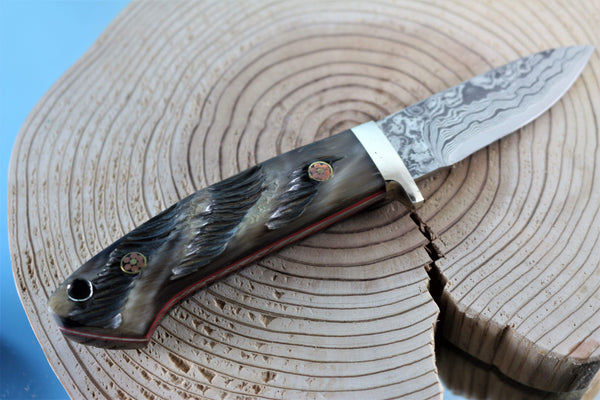 "Mr. Itou  IT-44 Drop Point Hunter, 3-1/4"" blade ""Sheep Horn Handle"""