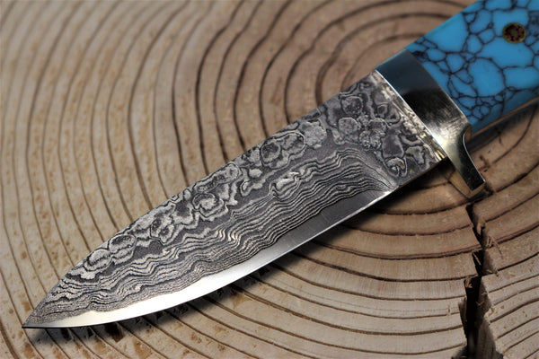 "Mr. Itou  IT-45 ""Drop point Hunter"" 3-1/2"" R2 Damascus blade, Turquoise Handle"