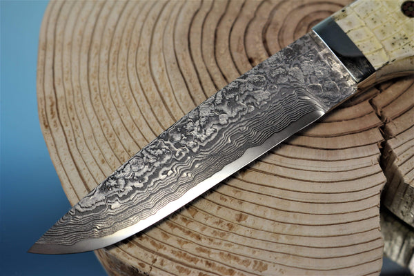 "Mr. Itou  IT-58 Utility Hunter ""4-3/4"" R2 Damascus Blade, Armadillo Hide Handle"""