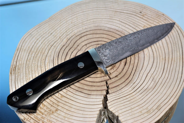 "Mr. Itou  IT-61 Drop Point Hunter ""4-3/8"" R2 Damascus Blade, Streaked Water Buffalo Horn Handle"""