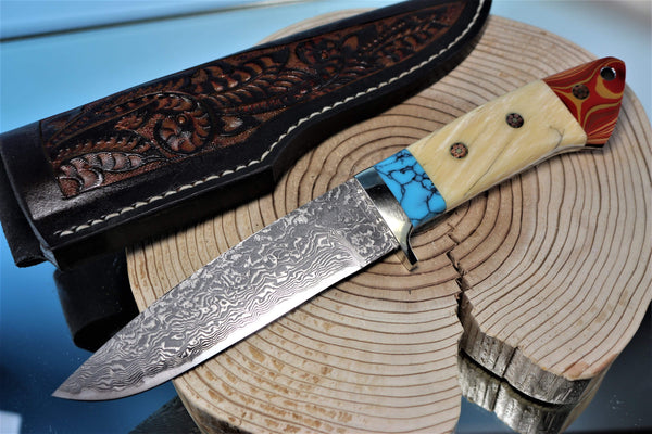 "Mr. Itou  IT-64 Drop Point Hunter ""5-1/8"" R2 Damascus Blade, Gorgeous Combo Handle"""